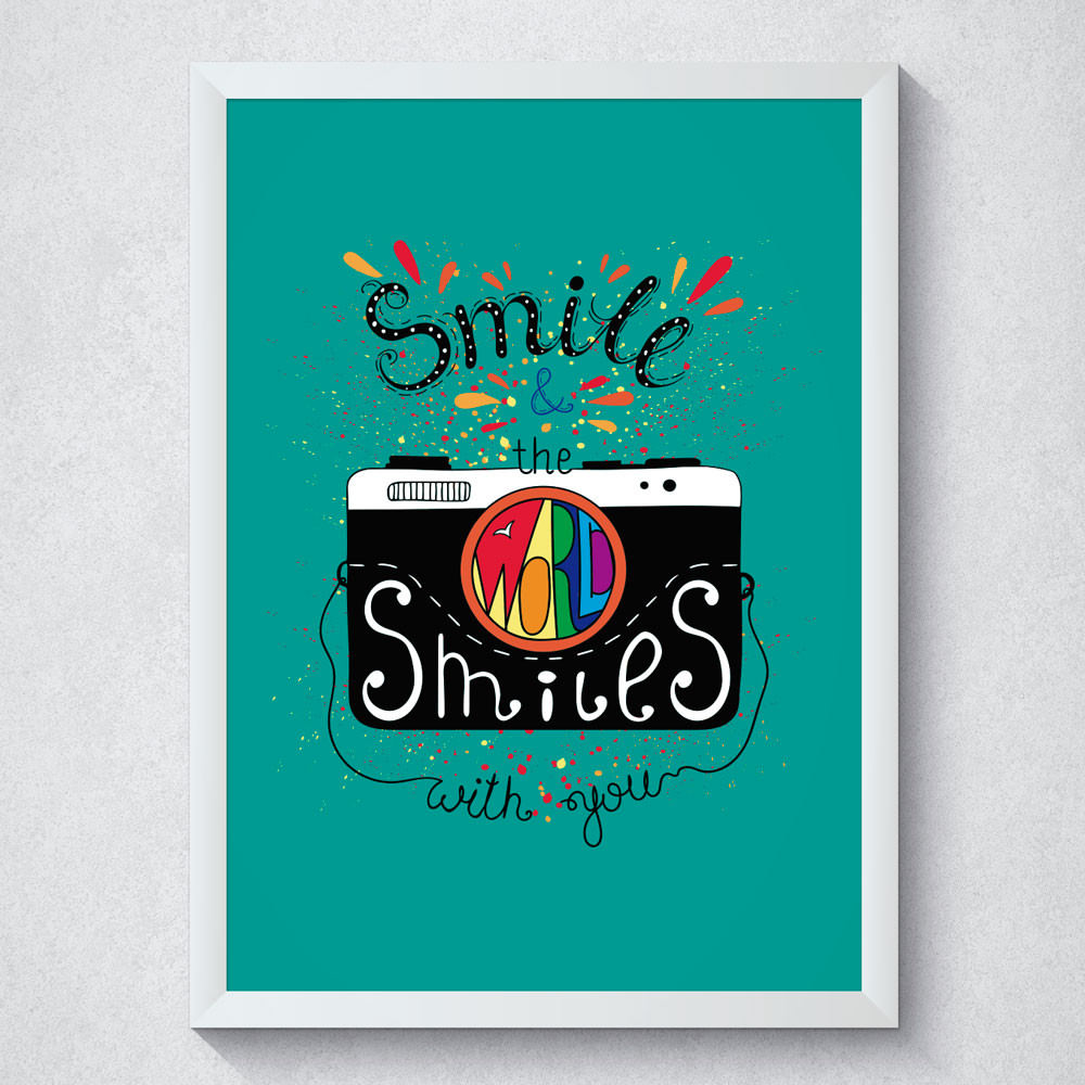 Quadro Decorativo Smile & The World Smiles With You Fundo Branco