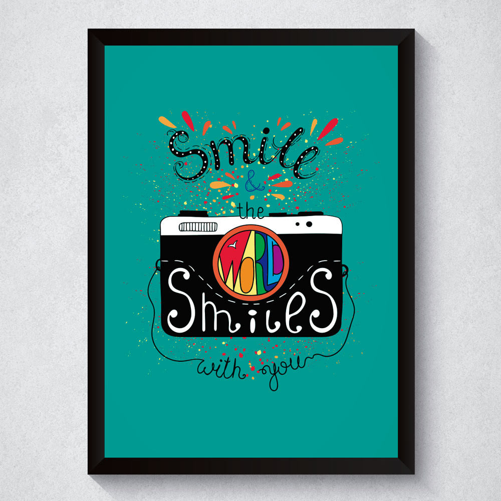 Quadro Decorativo Smile & The World Smiles With You Fundo Verde