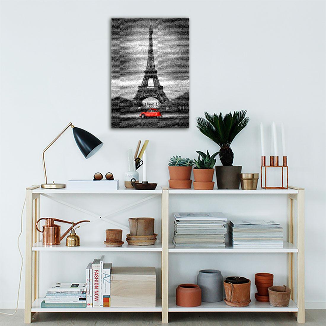 Quadro Decorativo Torre Eiffel Destaque Vermelho ( Em Canvas )