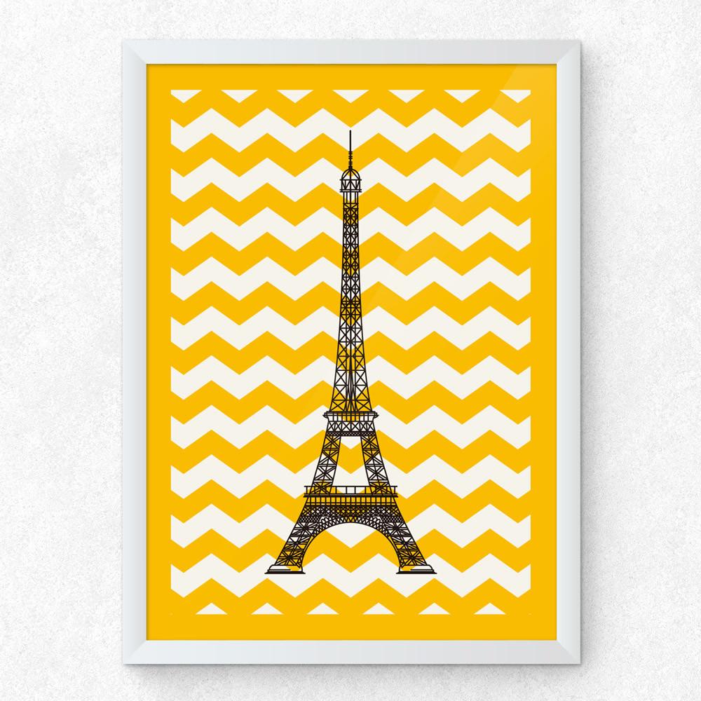 Quadro Decorativo Torre Eiffel (Chevron)