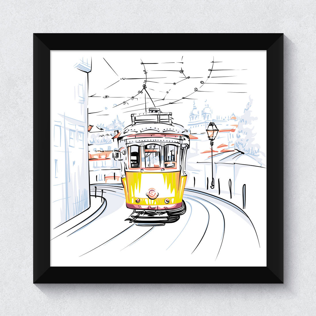 Quadrinho Decorativo Trem Amarelo Lisboa