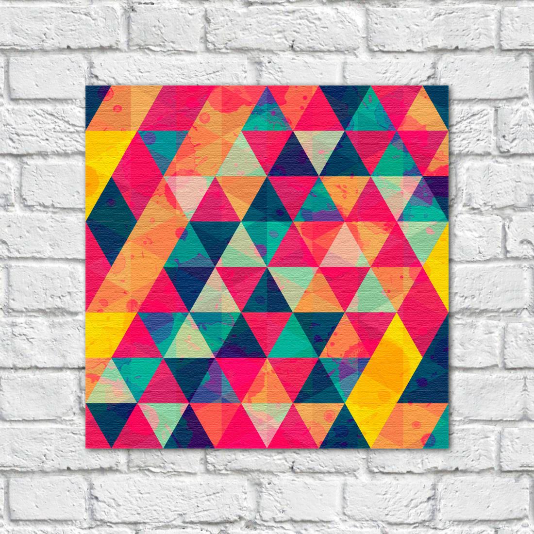 Quadro decorativo triângulos coloridos aquarela