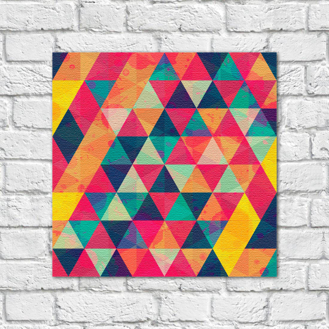 quadro decorativo triangulos coloridos