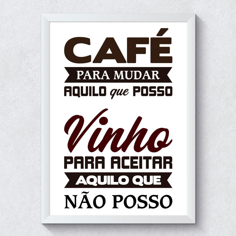 Quadro Decorativo Cafe e Vinho Moldura Branca