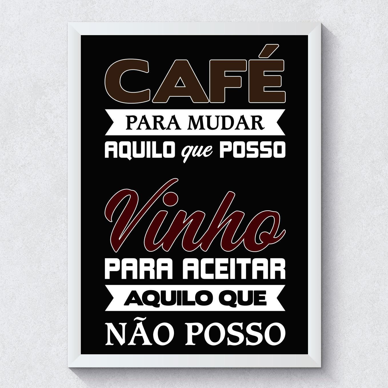 Quadro Decorativo Cafe e Vinho Fundo Preto