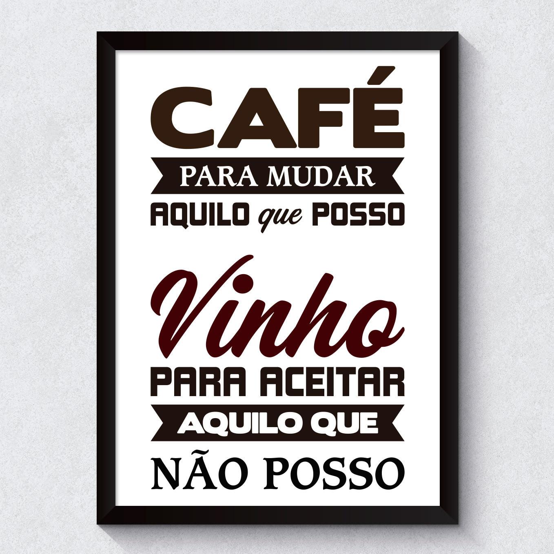 Quadro Decorativo Cafe e Vinho Fundo Branco