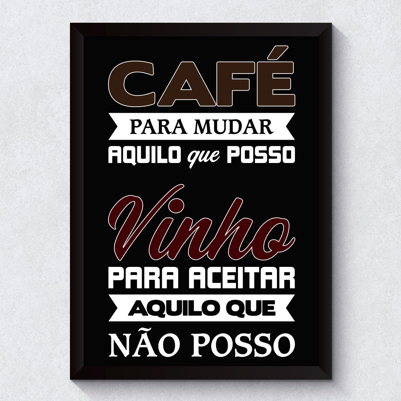 Quadro Decorativo Cafe e Vinho Moldura Preta