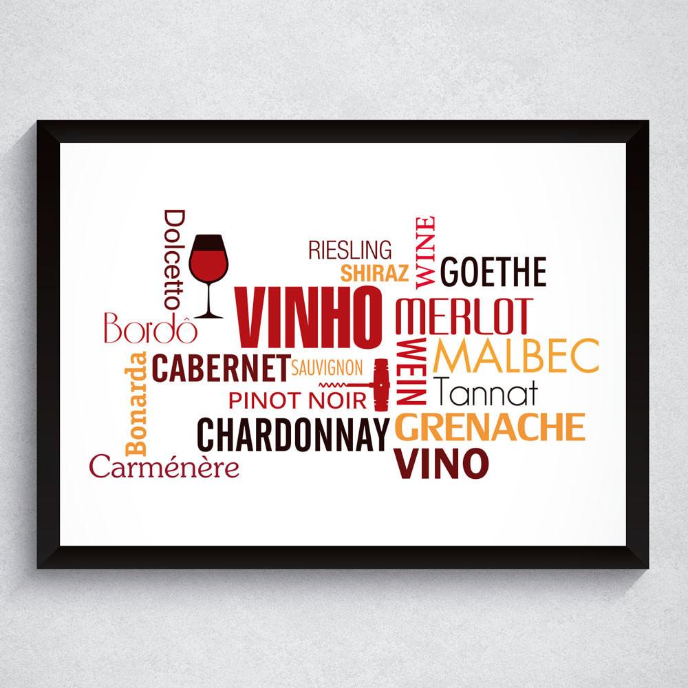Quadro Decorativo Vinho Nuvens de Palavras