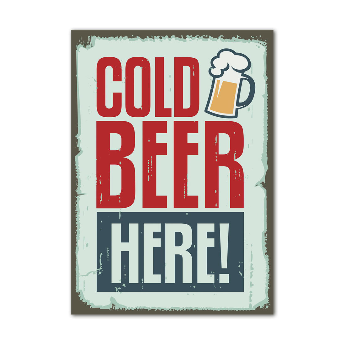 Quadro Decorativo Cold Beer Here Retrô