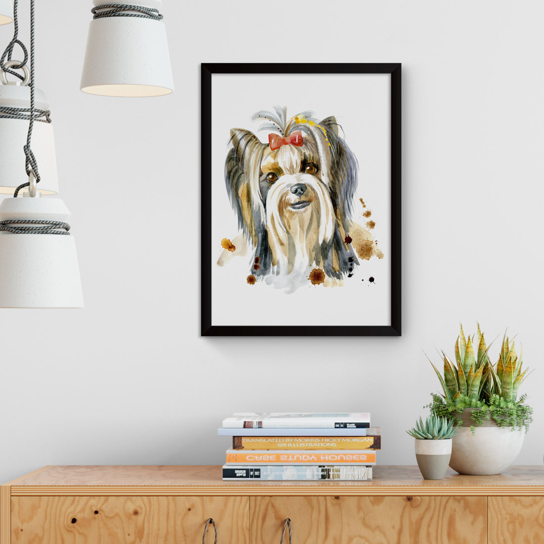 Quadro Decorativo Cachorro Yorkshire Aquarela