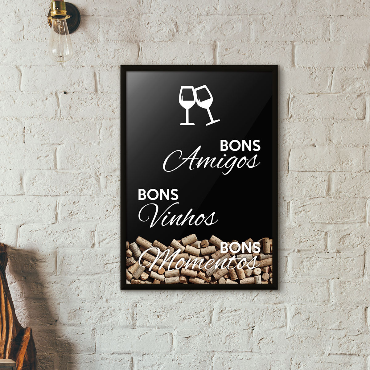 """Quadro Porta Rolhas de Vinho - """"Bons Amigos Bons Vinhos Bons Momentos"""" Preto"""