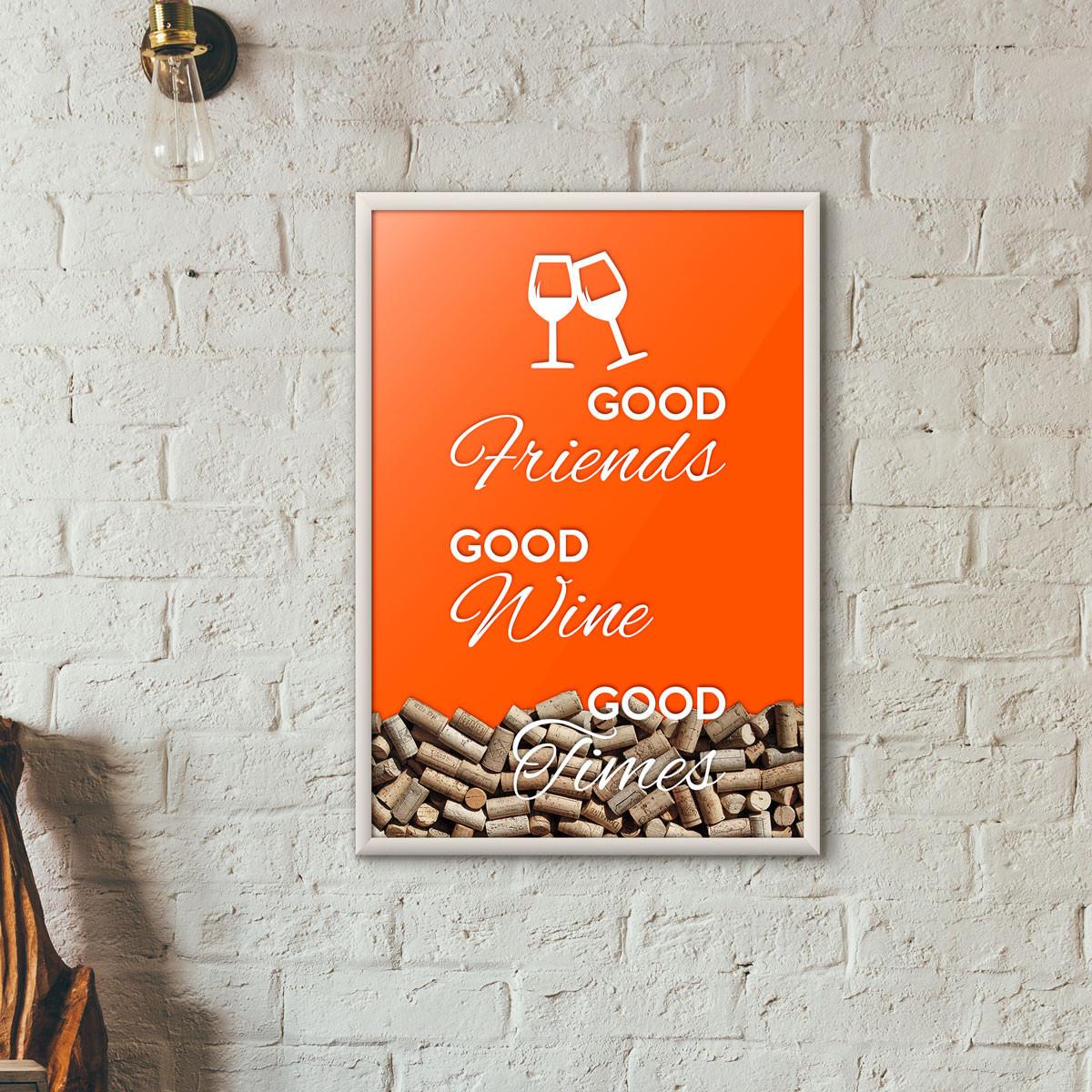 "Quadro Porta Rolhas de Vinho - ""Good Friends Good Wine Good Times"" Laranja"