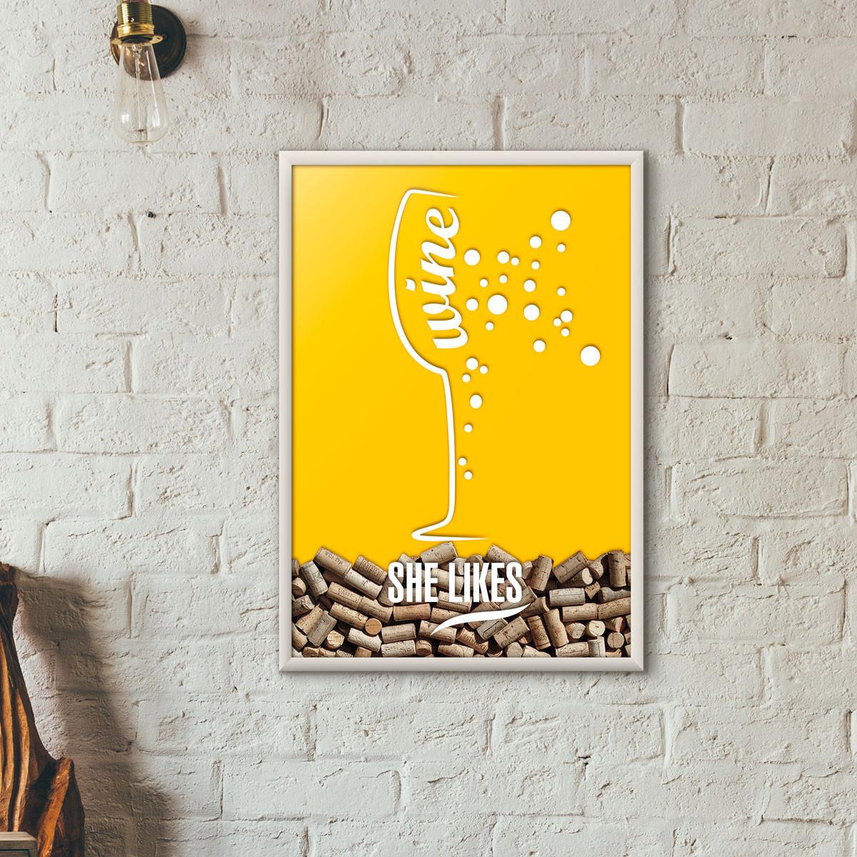 Quadro Porta Rolhas de Vinho - She Likes - Amarelo