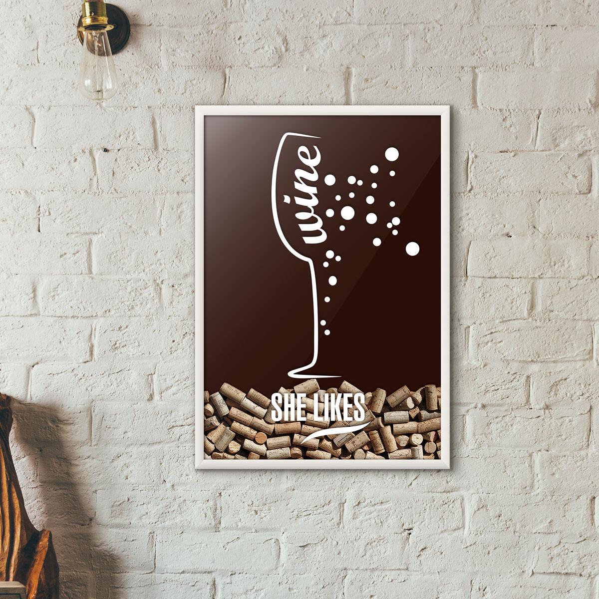 Quadro Porta Rolhas de Vinho - She Likes - Marrom