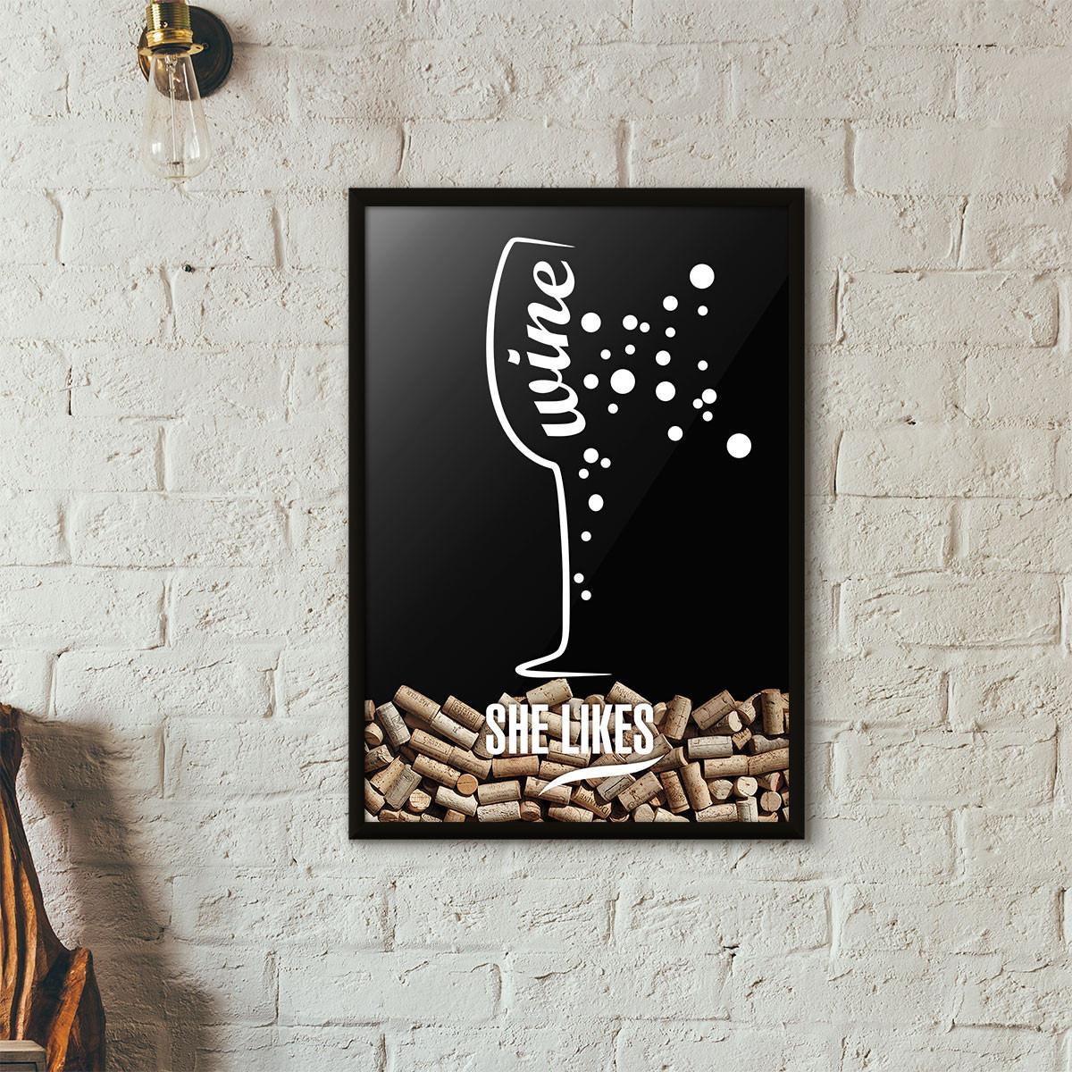 Quadro Porta Rolhas de Vinho - She Likes - Preto