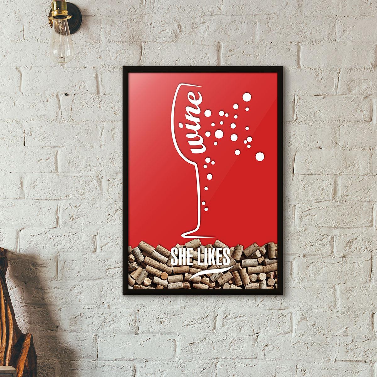 Quadro Porta Rolhas de Vinho - She Likes - Vermelho