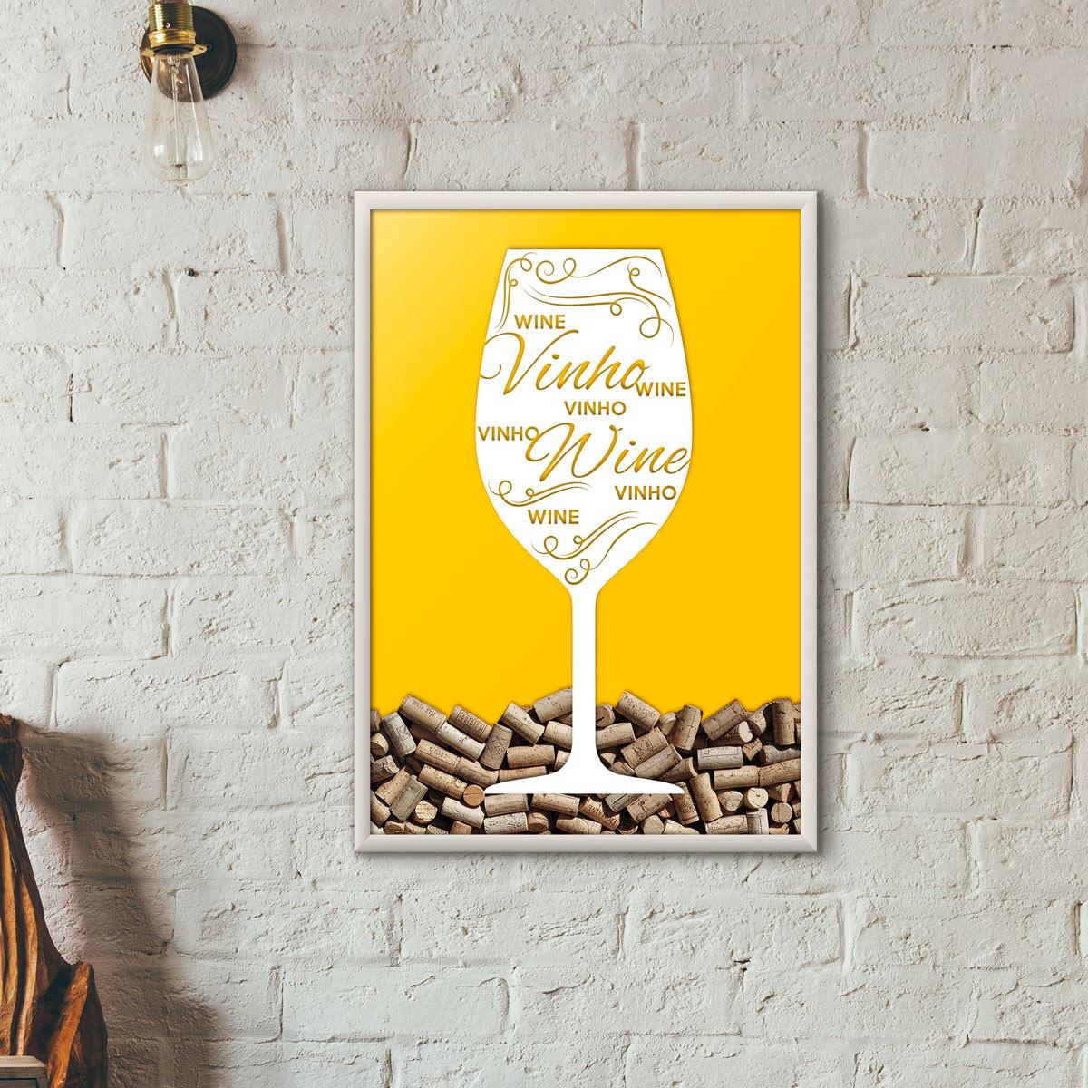 Quadro Porta Rolhas de Vinho - Taça Decorada - Amarelo