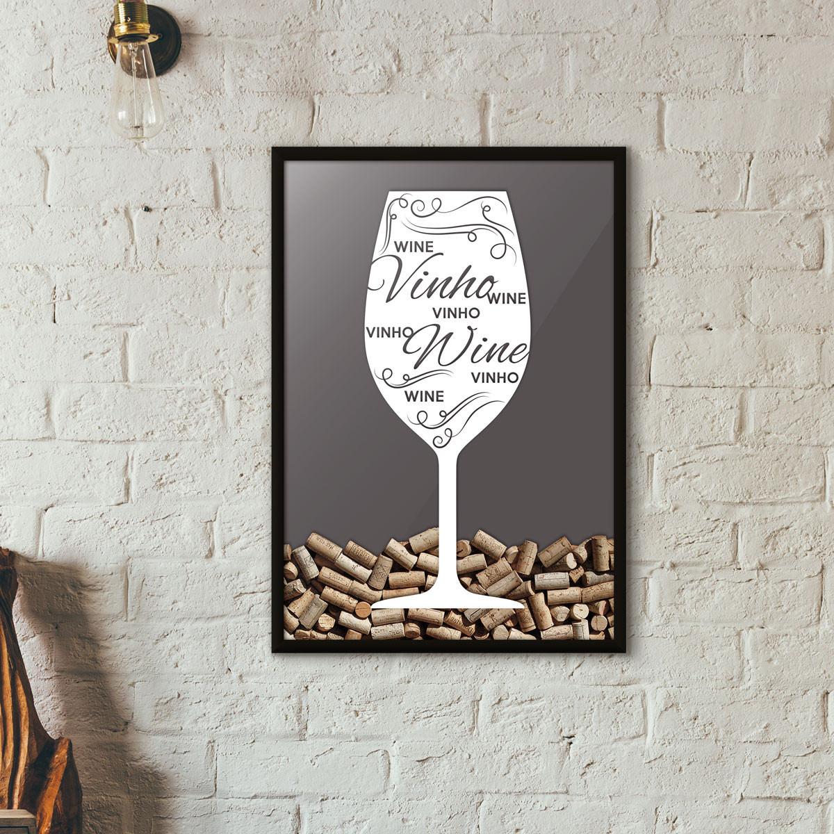 Quadro Porta Rolhas de Vinho - Taça Decorada - Cinza