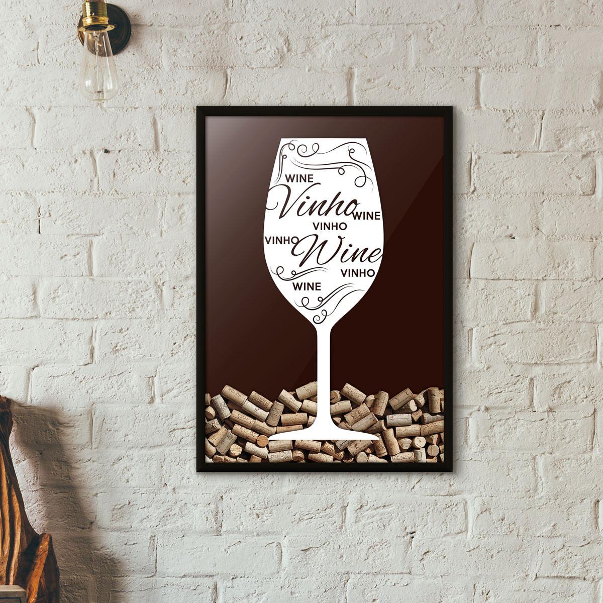 Quadro Porta Rolhas de Vinho - Taça Decorada - Marrom
