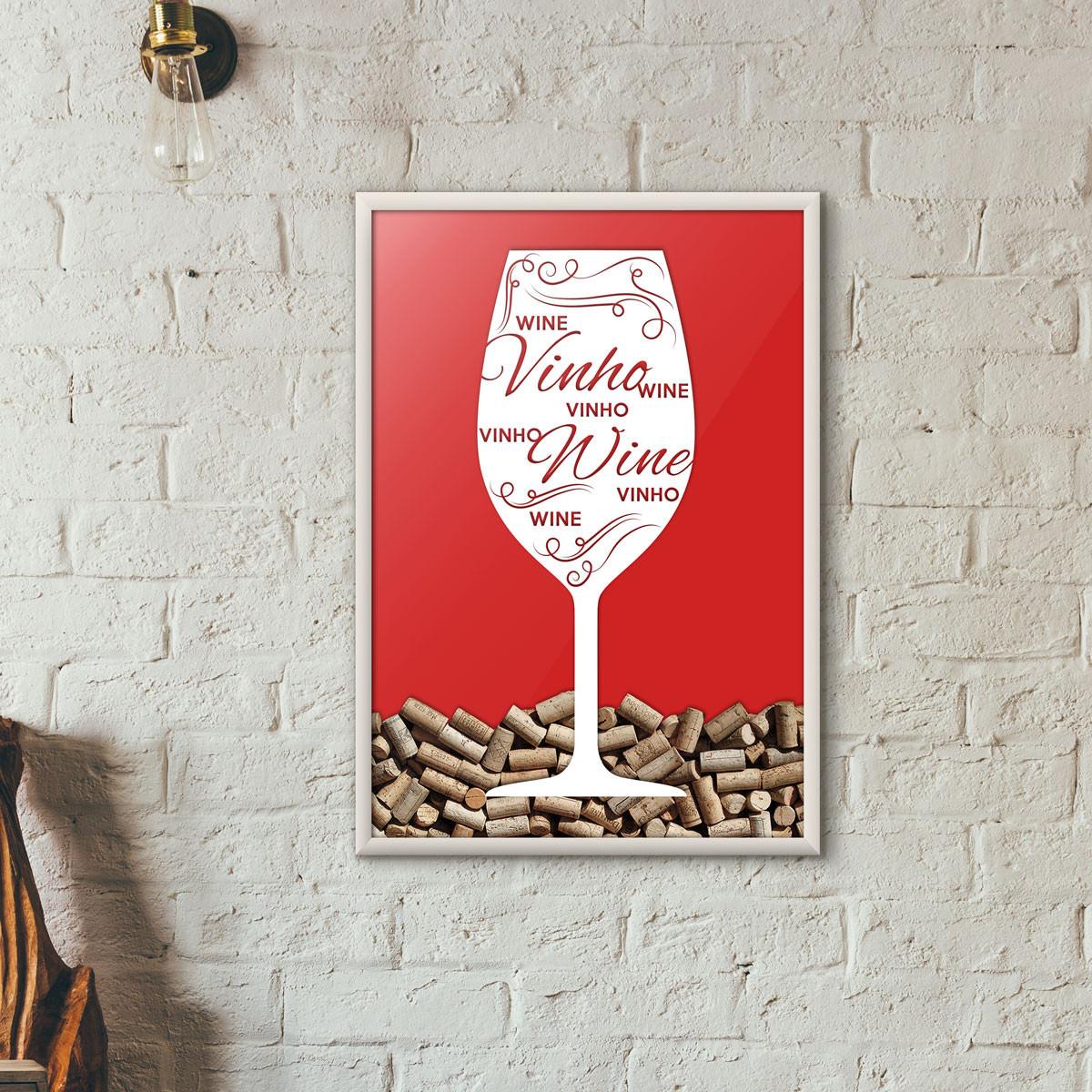 Quadro Porta Rolhas de Vinho - Taça Decorada - Vermelho