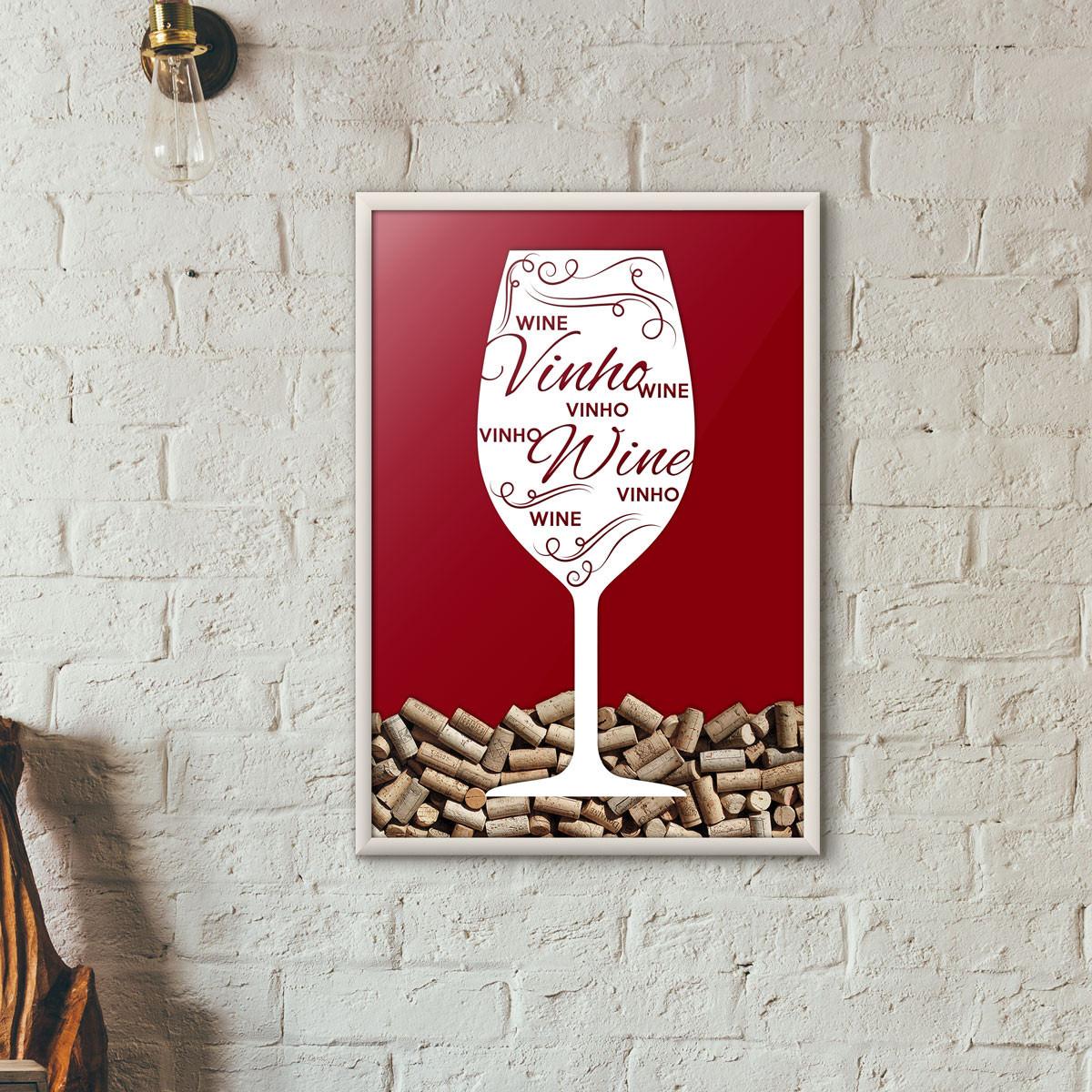 Quadro Porta Rolhas de Vinho - Taça Decorada - Vinho