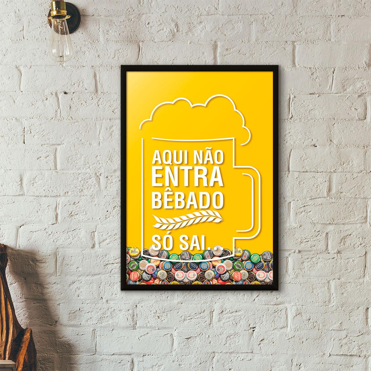 Quadro Porta Tampinhas de Cerveja - Aqui não entra bêbado, só sai - Amarelo