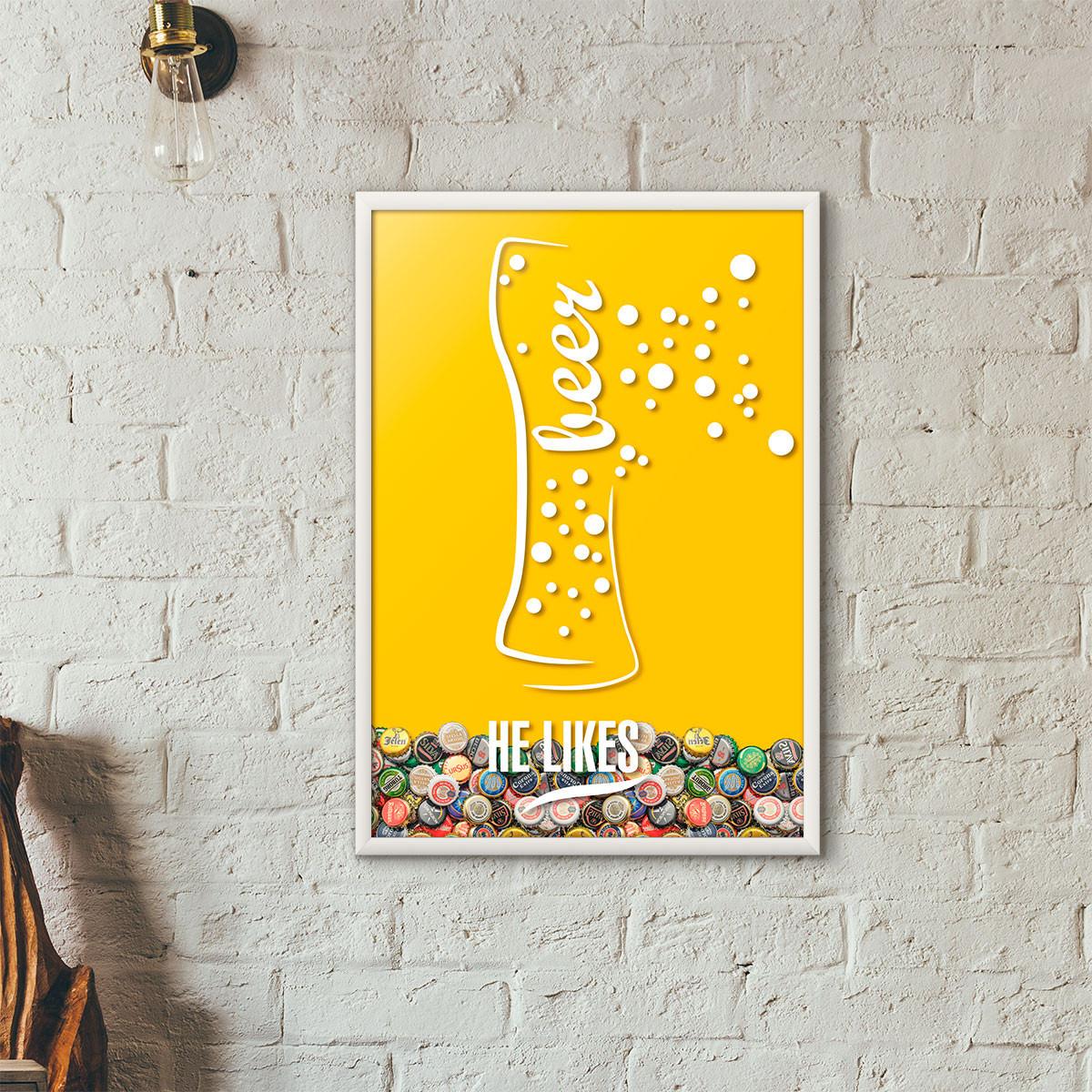 Quadro Porta Tampinhas de Cerveja - He Likes - Amarelo