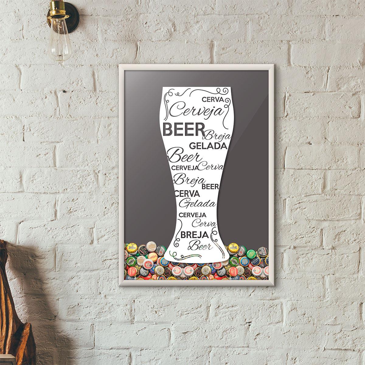 Quadro Porta Tampinhas de Cerveja - Tulipa Decorada Cinza