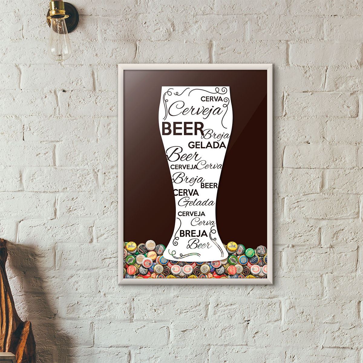 Quadro Porta Tampinhas de Cerveja - Tulipa Decorada Marrom