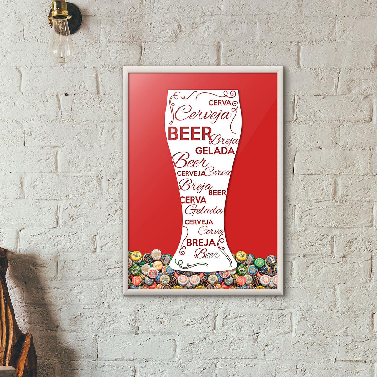 Quadro Porta Tampinhas de Cerveja - Tulipa Decorada Vermelho