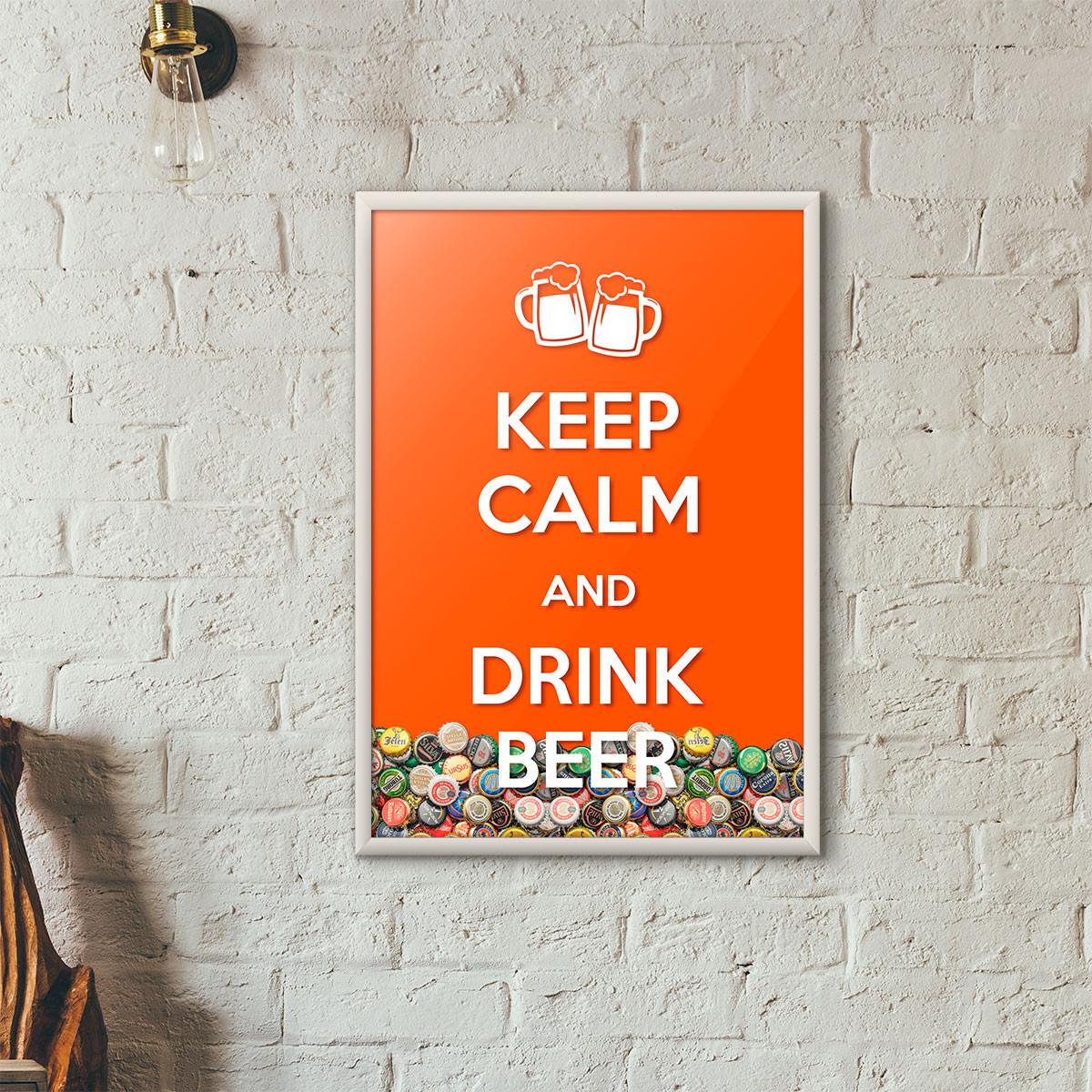 """Quadro Porta Tampinhas de Cerveja - """"Keep Calm And Drink Beer"""" (Moldura Branca) - Fundo Laranja"""
