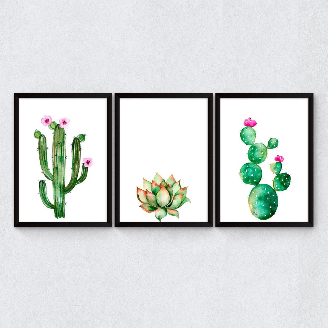 Conjunto de Quadros Decorativos Cactos Floridos