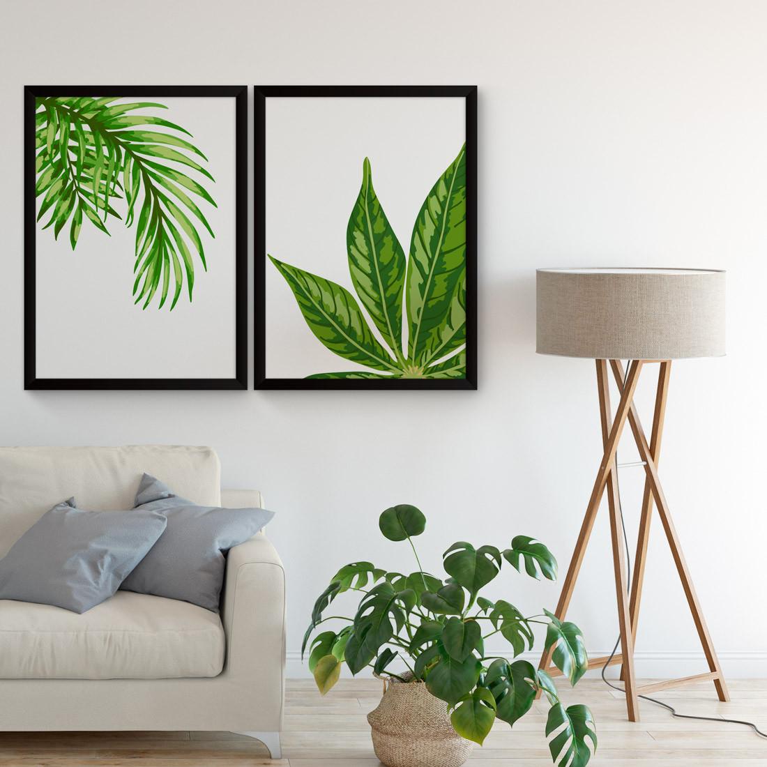 Conjunto de Quadros Decorativos Folhas de Palmeiras Tropicais