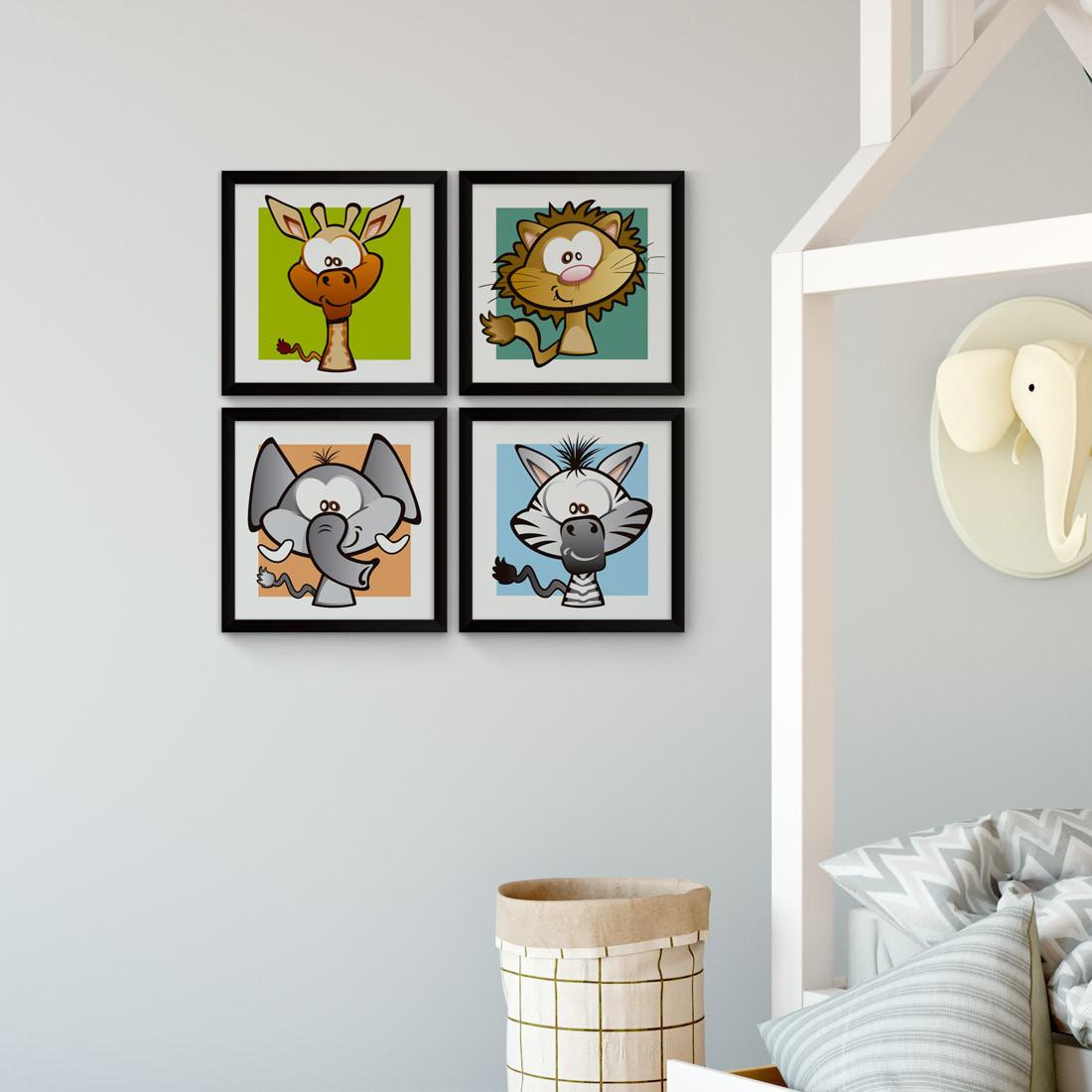 Conjunto de Quadrinhos Decorativos Infantil Animais Safari Girafa Leão