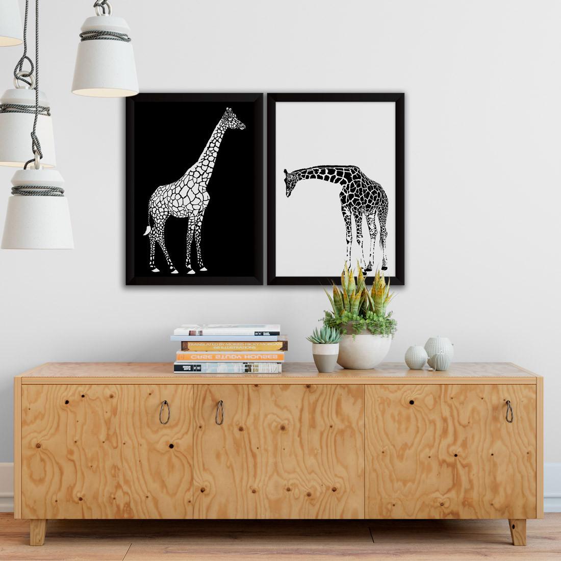Conjunto de Quadros Decorativos Girafas Preto e Branco