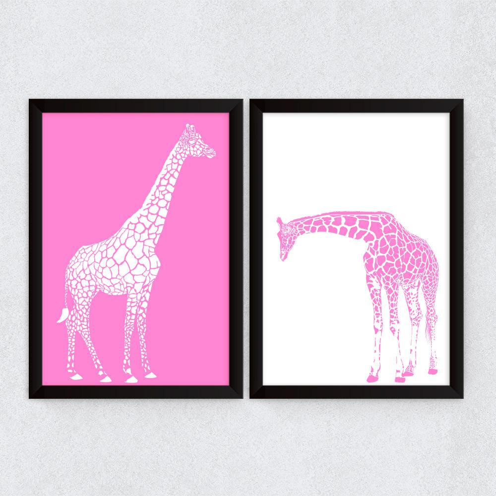 Conjunto de Quadros Decorativos Girafas Rosa