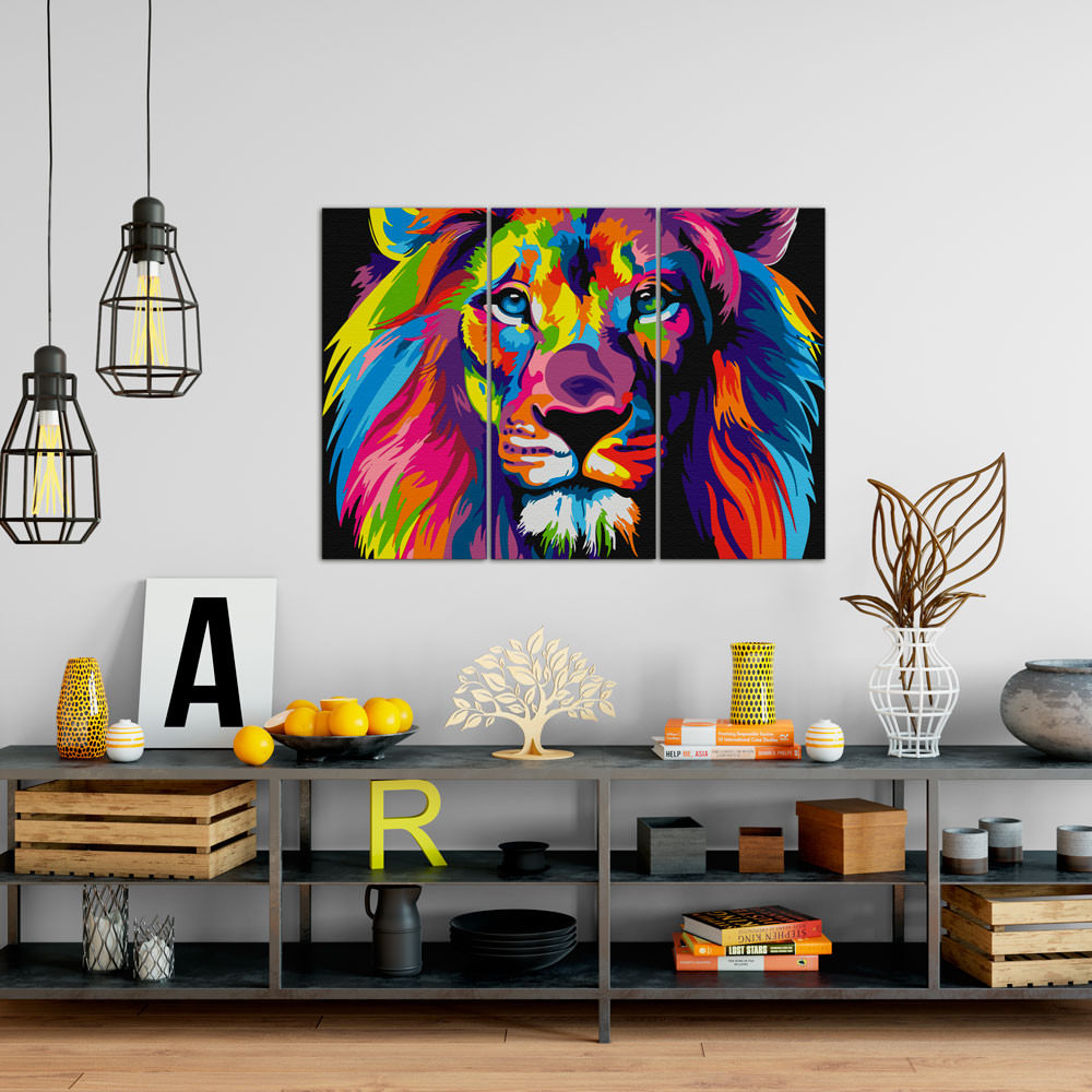 Quadro Decorativo Leão Colorido (Pop Art) - Em Canvas