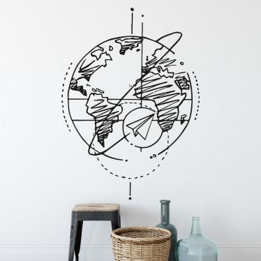 Adesivo de Parede Viagem Pelo Mundo Mapa Mundi