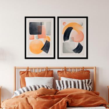 Conjunto de Quadros Decorativos Formas Abstratas