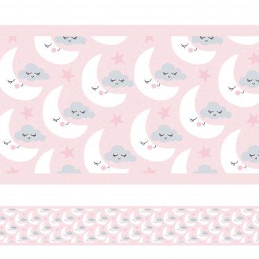 Faixa Decorativa Rosa Lua Nuvens Estrelas