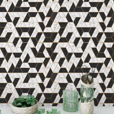 Papel de Parede Geométrico Abstrato Preto e Branco com Linhas Douradas