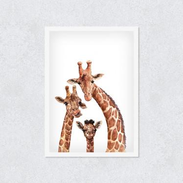 Quadro Decorativo Girafas Divertidas