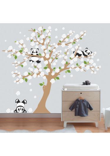 Adesivo de Parede Infantil Árvore Pandas Flores Brancas