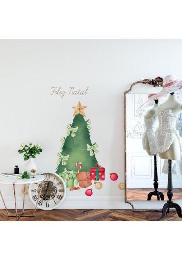 Adesivo de Parede Tradicional Árvore de Natal Presentes