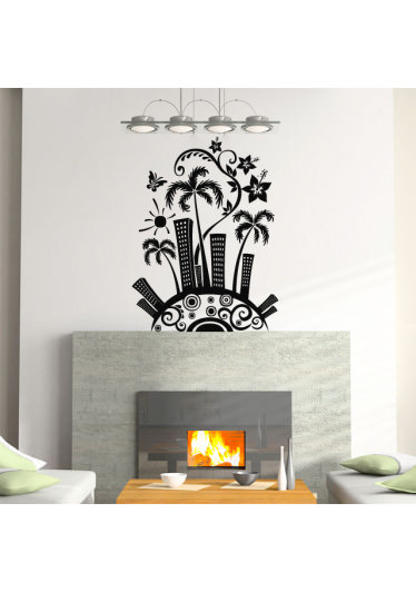 Adesivo de Parede Decorativo Cidade Tropical
