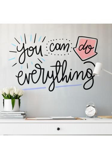 """Adesivo de Parede com Lettering """"You Can Do Everything"""""""