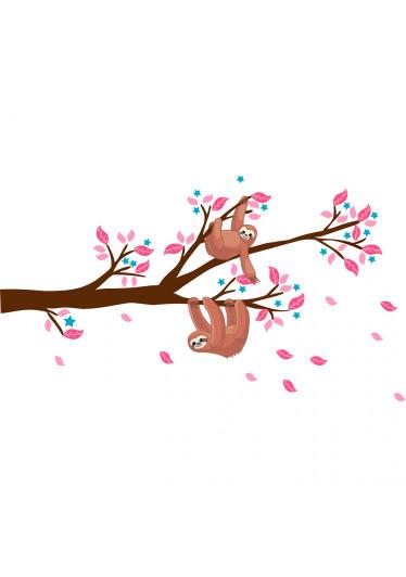Adesivo de Parede Infantil Bicho Preguiça (Rosa)