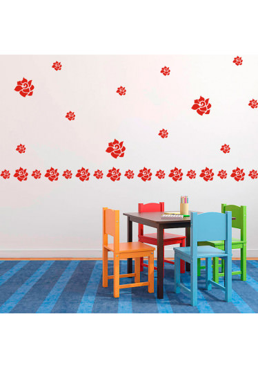Adesivo de Parede Decorativo Kit de Flores Rosa