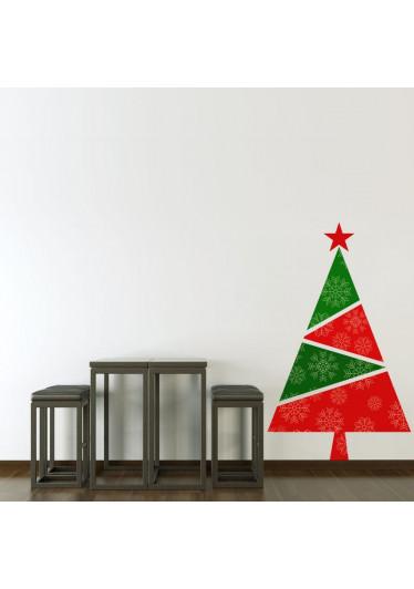 Adesivo de Parede Natalino Árvore de Natal Vermelha e Verde