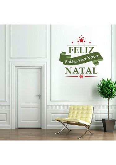 Adesivo Decorativo Faixa Feliz Natal e Ano Novo